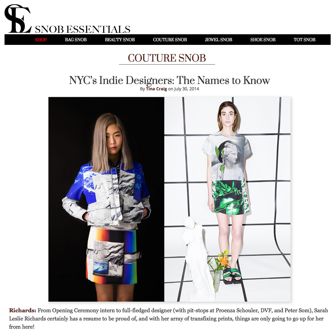 Couture Snob Press July 2014